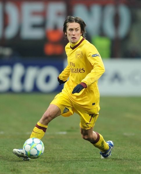 milan italy february 15 tomas rosicky of arsenal during the
