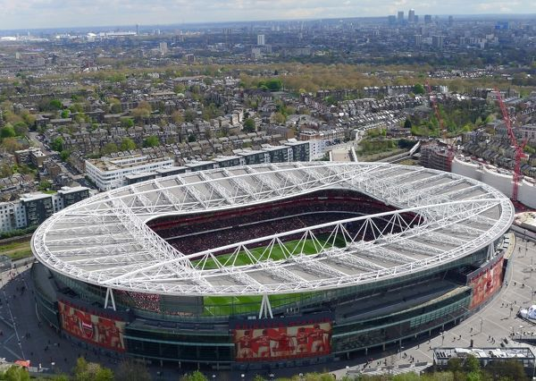aerial view of emirates stadium arsenal v