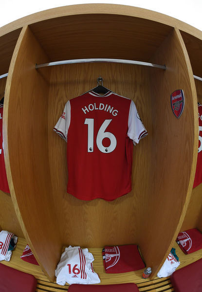 LONDON, ENGLAND - OCTOBER 06: Rob Holding's shirt hangs in the Arsenal changing room before the Premier League match between Arsenal FC and AFC Bournemouth at Emirates Stadium on October 06, 2019 in London, United Kingdom