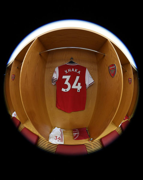 LONDON, ENGLAND - OCTOBER 06: Granit Xhaka's shirt hangs in the Arsenal changing room before the Premier League match between Arsenal FC and AFC Bournemouth at Emirates Stadium on October 06, 2019 in London, United Kingdom