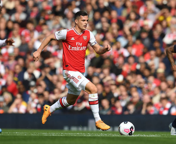 LONDON, ENGLAND - OCTOBER 06: Granit Xhaka of Arsenal during the Premier League match between Arsenal FC and AFC Bournemouth at Emirates Stadium on October 06, 2019 in London, United Kingdom. (Photo by Stuart MacFarlane/Arsenal FC via Getty Images)