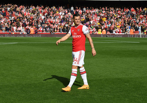 LONDON, ENGLAND - OCTOBER 06: Granit Xhaka of Arsenal before the Premier League match between Arsenal FC and AFC Bournemouth at Emirates Stadium on October 06, 2019 in London, United Kingdom. (Photo by Stuart MacFarlane/Arsenal FC via Getty Images)