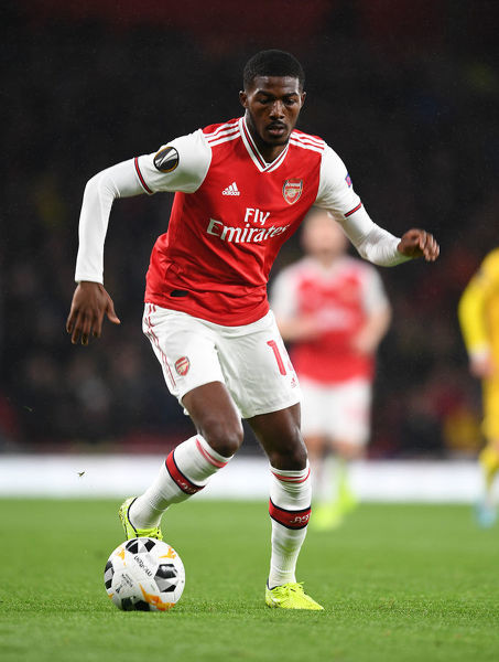 LONDON, ENGLAND - OCTOBER 03: Ainsley Maitland-Niles of Arsenal during the UEFA Europa League group F match between Arsenal FC and Standard Liege at Emirates Stadium on October 03, 2019 in London, United Kingdom