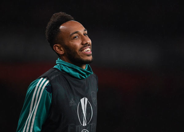 LONDON, ENGLAND - OCTOBER 03: Arsenal substitute Pierre-Emerick Aubameyang during the UEFA Europa League group F match between Arsenal FC and Standard Liege at Emirates Stadium on October 03, 2019 in London, United Kingdom