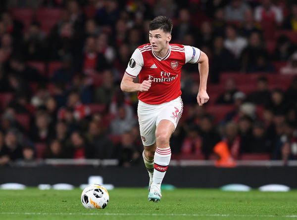 LONDON, ENGLAND - OCTOBER 03: Kieran Tierney of Arsenal during the UEFA Europa League group F match between Arsenal FC and Standard Liege at Emirates Stadium on October 03, 2019 in London, United Kingdom