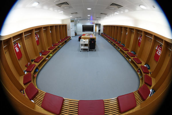 LONDON, ENGLAND - OCTOBER 03: of The Arsenal changing room before the UEFA Europa League group F match between Arsenal FC and Standard Liege at Emirates Stadium on October 03, 2019 in London, United Kingdom