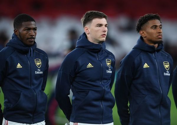 LONDON, ENGLAND - OCTOBER 03: Ainsley Maitland-Niles, Kieran Tierney and Reiss Nelson of Arsenal before the UEFA Europa League group F match between Arsenal FC and Standard Liege at Emirates Stadium on October 03, 2019 in London, United Kingdom