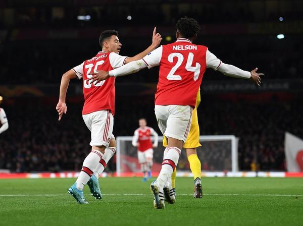 LONDON, ENGLAND - OCTOBER 03: Gabriel Martinelli celebrates scoring his and Arsenal's 2nd goal during the UEFA Europa League group F match between Arsenal FC and Standard Liege at Emirates Stadium on October 03, 2019 in London, United Kingdom