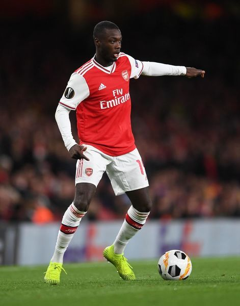 LONDON, ENGLAND - OCTOBER 03: Nicolas Pepe of Arsenal during the UEFA Europa League group F match between Arsenal FC and Standard Liege at Emirates Stadium on October 03, 2019 in London, United Kingdom