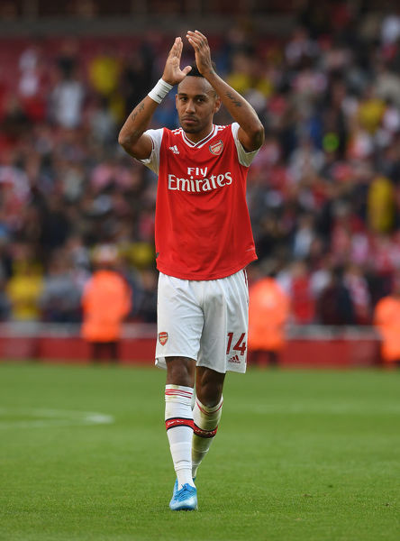 LONDON, ENGLAND - SEPTEMBER 01: Pierre-Emerick Aubaemyang of Arsenal after the Premier League match between Arsenal FC and Tottenham Hotspur at Emirates Stadium on September 01, 2019 in London, United Kingdom