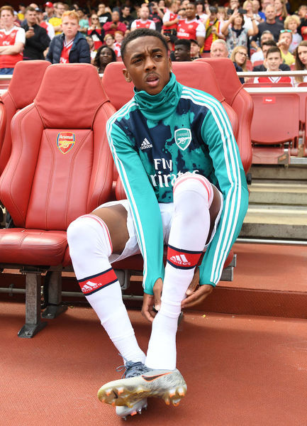 LONDON, ENGLAND - JULY 28: Joe Willock of Arsenal before the Emirates Cup match between Arsenal and Olympic Lyonnais at Emirates Stadium on July 28, 2019 in London, England. (Photo by Stuart MacFarlane/Arsenal FC via Getty Images)