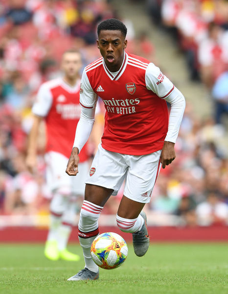 LONDON, ENGLAND - JULY 28: Joe Willock of Arsenal during the Emirates Cup match between Arsenal and Olympic Lyonnais at Emirates Stadium on July 28, 2019 in London, England. (Photo by Stuart MacFarlane/Arsenal FC via Getty Images)