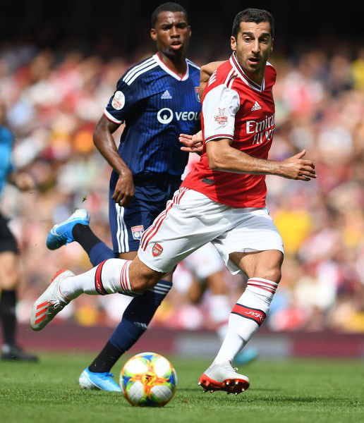 LONDON, ENGLAND - JULY 28: Henrikh Mkhitaryan of Arsenal during the Emirates Cup match between Arsenal and Olympic Lyonnais at Emirates Stadium on July 28, 2019 in London, England. (Photo by Stuart MacFarlane/Arsenal FC via Getty Images)