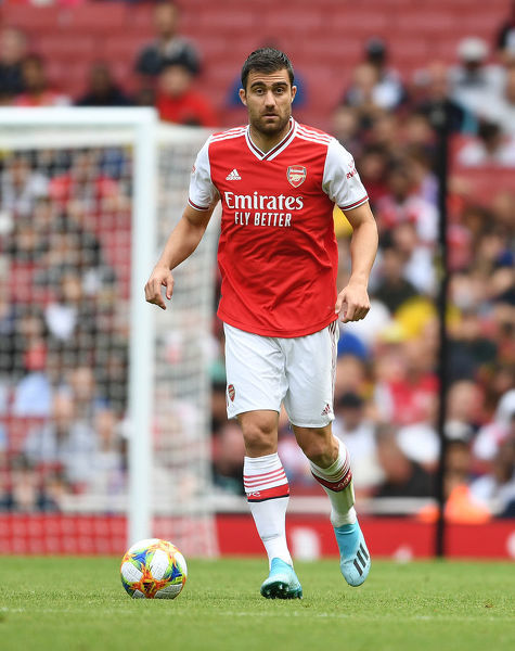 LONDON, ENGLAND - JULY 28: Sokratis of Arsenal during the Emirates Cup match between Arsenal and Olympic Lyonnais at Emirates Stadium on July 28, 2019 in London, England. (Photo by Stuart MacFarlane/Arsenal FC via Getty Images)