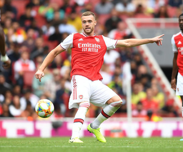 LONDON, ENGLAND - JULY 28: Calum Chambers of Arsenal during the Emirates Cup match between Arsenal and Olympic Lyonnais at Emirates Stadium on July 28, 2019 in London, England. (Photo by Stuart MacFarlane/Arsenal FC via Getty Images)