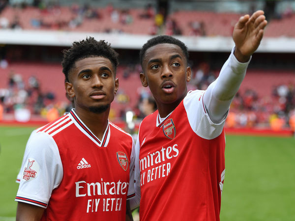 LONDON, ENGLAND - JULY 28: (L-R) Reiss Nelson and Joe WIllock of Arsenal after the Emirates Cup match between Arsenal and Olympic Lyonnais at Emirates Stadium on July 28, 2019 in London, England