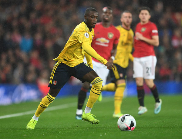 MANCHESTER, ENGLAND - SEPTEMBER 30: Nicolas Pepe of Arsenal during the Premier League match between Manchester United and Arsenal FC at Old Trafford on September 30, 2019 in Manchester, United Kingdom
