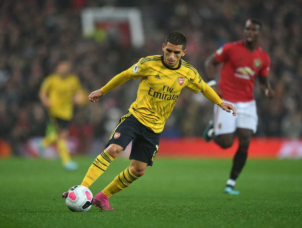 MANCHESTER, ENGLAND - SEPTEMBER 30: Lucas Torreira of Arsenal during the Premier League match between Manchester United and Arsenal FC at Old Trafford on September 30, 2019 in Manchester, United Kingdom