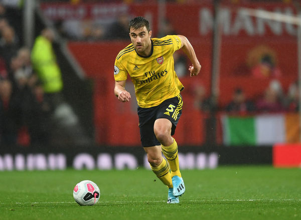 MANCHESTER, ENGLAND - SEPTEMBER 30: Sokratis of Arsenal during the Premier League match between Manchester United and Arsenal FC at Old Trafford on September 30, 2019 in Manchester, United Kingdom. (Photo by David Price/Arsenal FC via Getty Images)