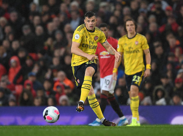 MANCHESTER, ENGLAND - SEPTEMBER 30: Granit Xhaka of Arsenal during the Premier League match between Manchester United and Arsenal FC at Old Trafford on September 30, 2019 in Manchester, United Kingdom