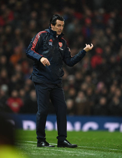 MANCHESTER, ENGLAND - SEPTEMBER 30: Arsenal Head Coach Unia Emery during the Premier League match between Manchester United and Arsenal FC at Old Trafford on September 30, 2019 in Manchester, United Kingdom