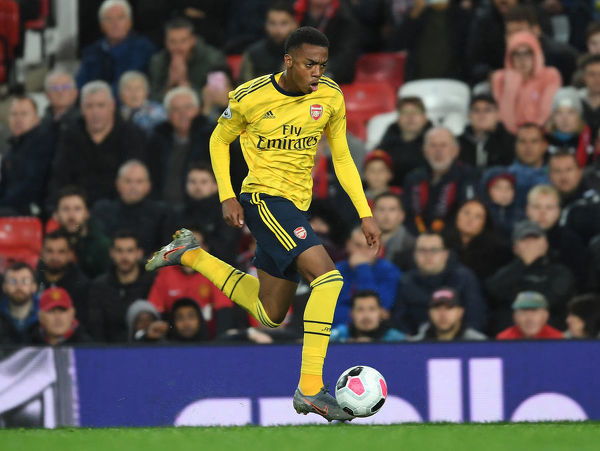 MANCHESTER, ENGLAND - SEPTEMBER 30: Joe Willock of Arsenal during the Premier League match between Manchester United and Arsenal FC at Old Trafford on September 30, 2019 in Manchester, United Kingdom