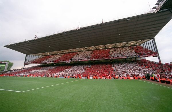 the north bank at the end of the match arsenal