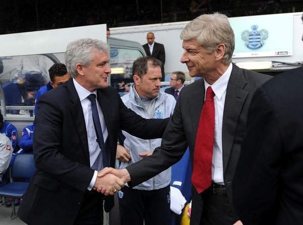 london england march 31 managers arsene wenger arsenal
