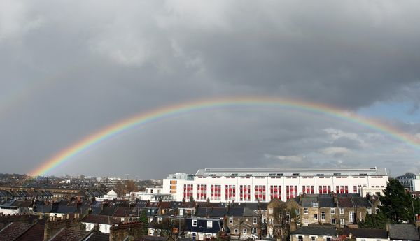 a rainbow over highbury square photgraphed