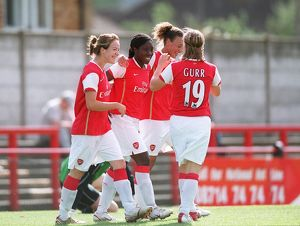 anita asante celebrates scoring for arsenal