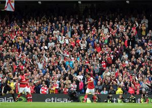 Arsenal fans. Manchester City 1:1 Arsenal. Barclays Premier League. Etihad Stadium