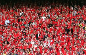 Arsenal fans in the North Bank. Arsenal 4:2 Wigan Athletic