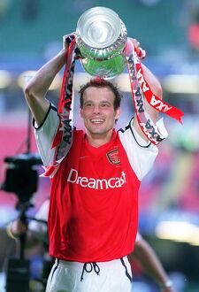 Arsenal goalscorer Fredrik Ljungberg with the FA Cup after the match