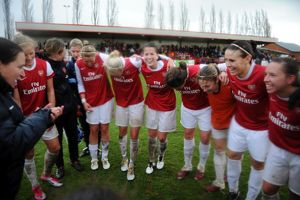 arsenal ladies celebrate at the end of the