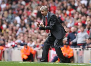 Arsenal manager Arsene Wenger shows his frustration during the match