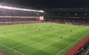 Arsenal Stadium during the match, photographed from the South East corner