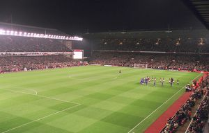 Arsenal Stadium, the teams walk out onto the pitch, photographed from the South East corner