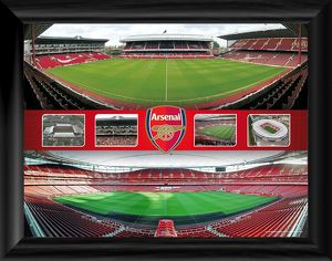 arsenal stadiums panoramic montage framed print