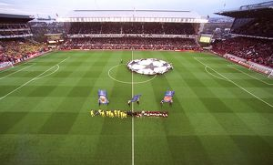 The Arsenal and Villarreal teams line up before the match, the last floodlit match at Highbury