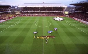 The Arsenal and Villarreal teams shake hands before the match, the last floodlit match at Highbury