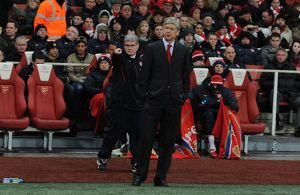 Arsenal Wenger the Arsenal Manager and his Assistant Pat Rice. Arsenal 3:1 Chelsea
