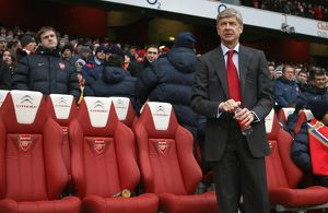 Arsene Wenger the Arsenal Manager. Arsenal 2:2 Everton. Barclays Premier League