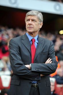 Arsene Wenger the Arsenal Manager. Arsenal 3:0 Wigan Athletic. Barclays Premier League
