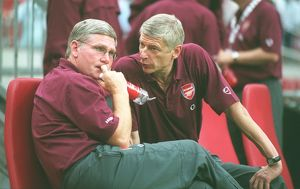 Arsene Wenger the Arsenal Manager with his Assistant Pat Rice. Ajax 0:1 Arsenal