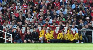 arsene wenger the arsenal manager on the bench arsenal