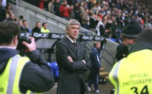 Arsene Wenger the Arsenal manager. Bolton Wanderers 2:0 Arsenal. FA Premiership