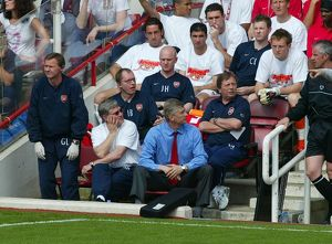 Arsene Wenger the Arsenal manager in the Dug Out. Arsenal 2:1 Leicester City