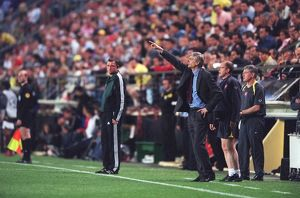 Arsene Wenger the Arsenal Manager gives instructions fromthe touchline