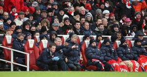 Arsene Wenger the Arsenal Manager sits in the dug out. Arsenal 2:2 Everton