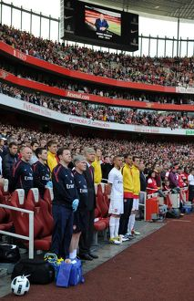 arsene wenger the arsenal manager stand for a minutes